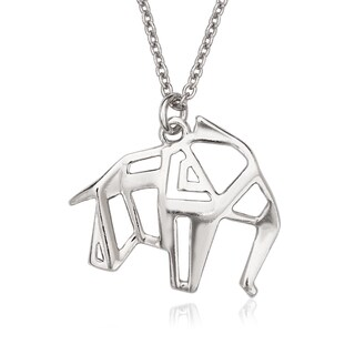 La Preciosa Sterling Silver Origami Elephant Necklace