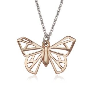 La Preciosa Sterling Silver Rose-plated Origami Butterfly Necklace