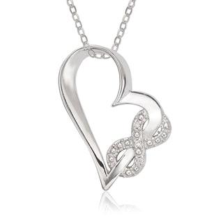La Preciosa Sterling Silver Cubic Zirconia Heart Infinity Pendant