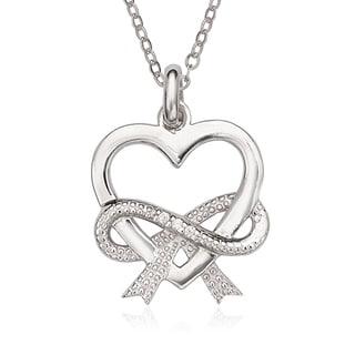 La Preciosa Sterling Silver Heart with Cubic Zirconia Infinity Pendant
