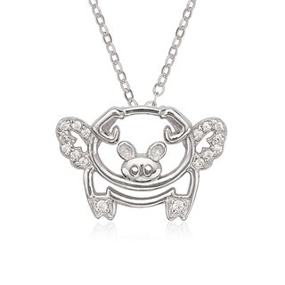 La Preciosa Sterling Silver Cubic Zirconia Flying Pig with Wings Pendant