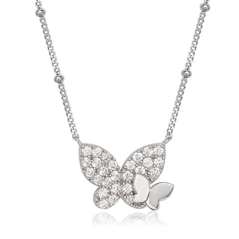 La Preciosa Sterling Silver Cubic Zirconia Double Butterfly Necklace
