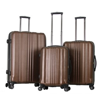 Gabbiano Metallic Polycarbonate 3-piece Coffee Expandable Hardside Spinner Set