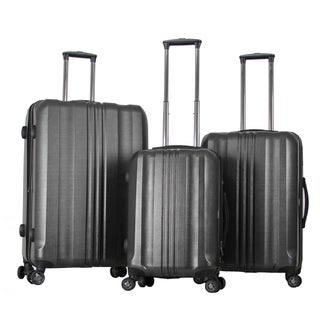 Gabbiano Metallic Polycarbonate 3-piece Dark Grey Expandable Hardside Spinner Set