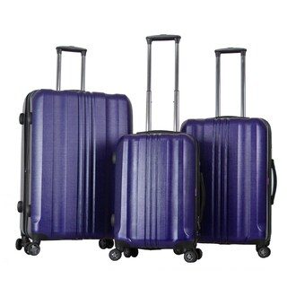 Gabbiano Metallic Polycarbonate 3-piece Blue Expandable Hardside Spinner Set