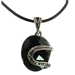 Mama Designs Round Black Faux Marcasite and Hemitite Necklace