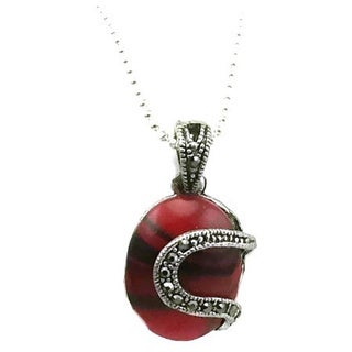 Mama Designs Round Red Faux Marcasite and Hemitite Necklace