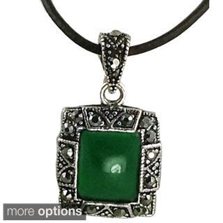 Mama Designs Jade Faux Marcasite and Hemitite Unique Rectagular Pendant Necklace