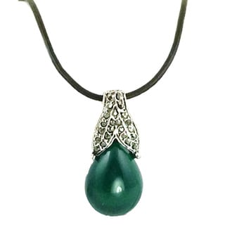 Mama Designs Green Oval Faux Marcasite and Hemitite Pendant Necklace