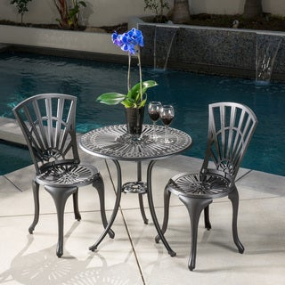 Andorra Outdoor 3-piece Cast Aluminum Bistro Set by Christopher Knight Home - N/A