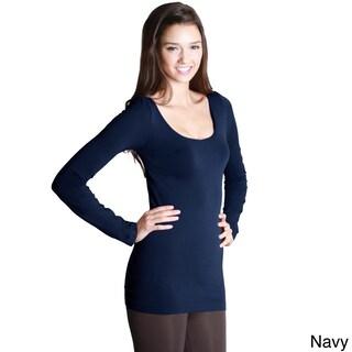 Nikibiki Women's Seamless Long Sleeve Scoop Neck Top