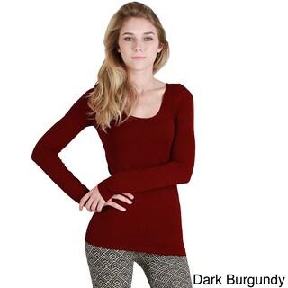 Nikibiki Women's Seamless Long Sleeve Scoop Neck Top (Option: Dark Burgundy)