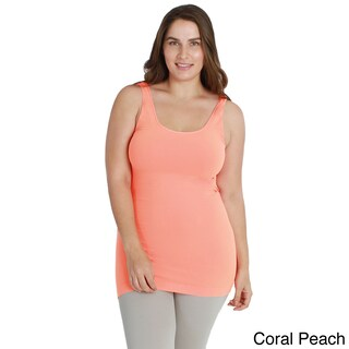 Nikibiki Women's Plus-size Seamless Colors Long Camisole Top (Option: CORAL PEACH - One Size Fits Most)
