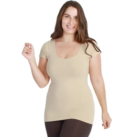 Nikibiki Women's Plus-size Seamless Basic Cap Sleeve Top