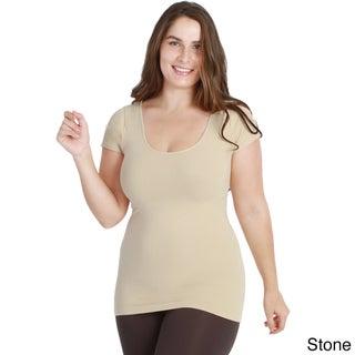 Nikibiki Women's Plus-size Seamless Basic Cap Sleeve Top (Option: Beige)