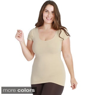 Nikibiki Women's Plus-size Seamless Basic Cap Sleeve Top