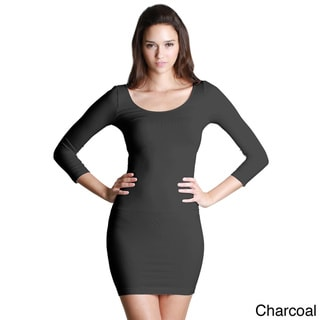 Nikibiki Women's Seamless 3/4 Sleeve Scoop Neck Dress