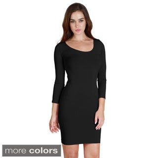 Nikibiki Women's Seamless 3/4 Sleeve Scoop Neck Dress