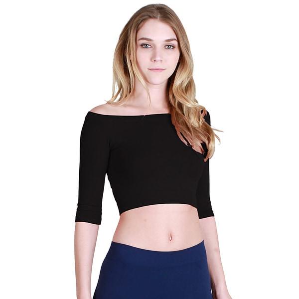621dbdb4b72 Shop Nikibiki Women's Seamless Half Sleeve Off Shoulder Crop Top ...