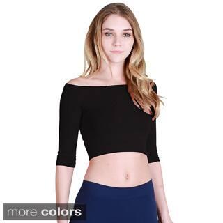 Nikibiki Women's Seamless Half Sleeve Off Shoulder Crop Top|https://ak1.ostkcdn.com/images/products/10195687/P17320306.jpg?impolicy=medium