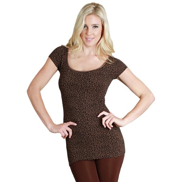 Nikibiki Women's Seamless Cheetah Print Cap Sleeve Top