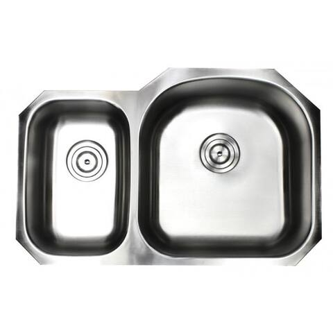 Pearl Satin 32-inch Premium 16 Gauge Stainless Steel Undermount 30/70 Offset Double Bowl Kitchen Sink