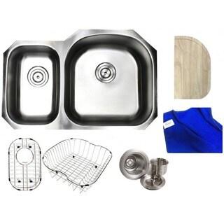 Ariel Pearl Satin 32-inch Premium 16 Gauge Stainless Steel Undermount 30/70 Offset Double Bowl Kitchen Sink