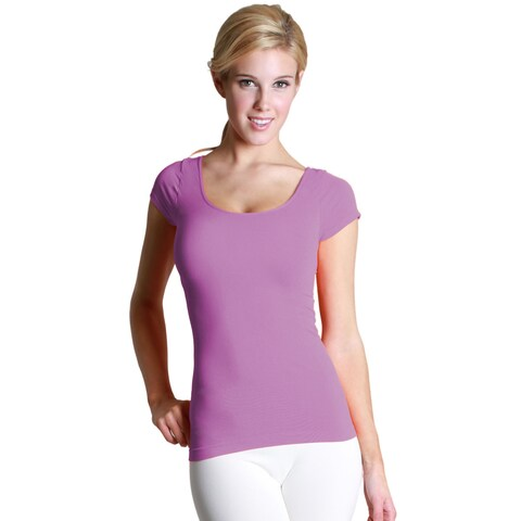 Nikibiki Women's Seamless Colors Cap Sleeve Scoop Neck Top