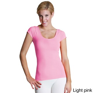 Nikibiki Women's Seamless Colors Cap Sleeve Scoop Neck Top (More options available)