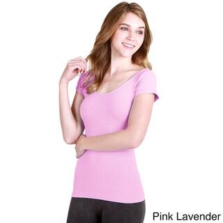 Nikibiki Women's Seamless Colors Cap Sleeve Scoop Neck Top