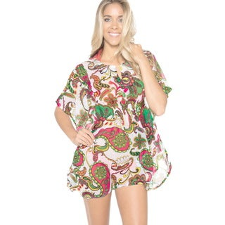 La Leela Super LIGHTWEIGHT CHIFFON Dancing Paisley Swim Bikini Cover up Dress Multi