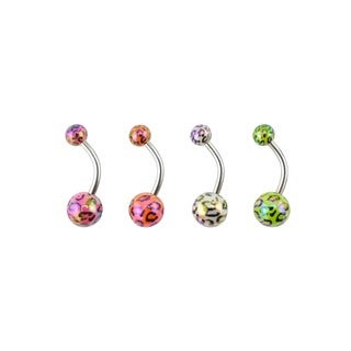 Supreme Jewelry Surgical Steel Iridescent Cheetah Print 4-pack Belly Ring