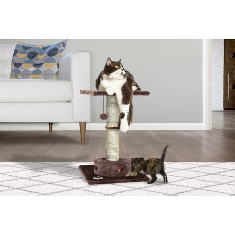 Tiger Tough Brown Sisal Rope Cat Playground/Scratching Post with Cat IQ Busy Box
