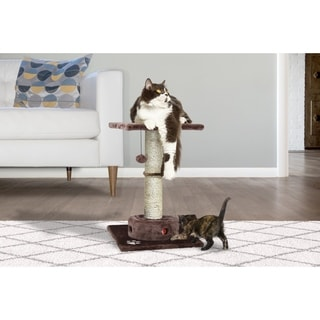 Tiger Tough Cat Playground Scratching Post with Cat- IQ Busy Box - Brown