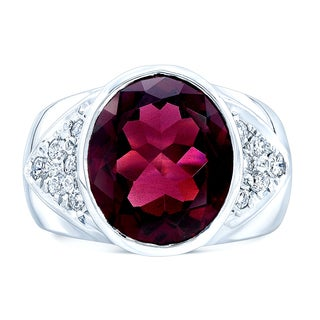 Estie G 18k White Gold Rhodolite Garnet 1/2ct TDW Diamond Ring (H-I, SI1-SI2) (Size 7)