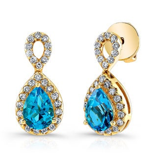 Estie G 18K Yellow Gold Swiss Blue Topaz & Diamond Drop Earrings