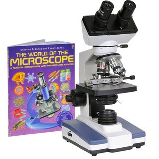 40X-1000X LED Binocular Compound Microscope with Double Layer Mechanical Stage andBook