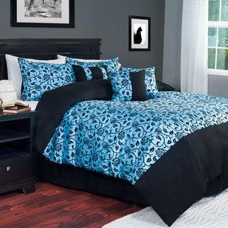 Windsor Home Floral Demask Sky Blue 7-piece Comforter Set