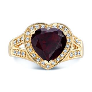 Estie G 14k Yellow Gold Garnet Heart-shaped Ring