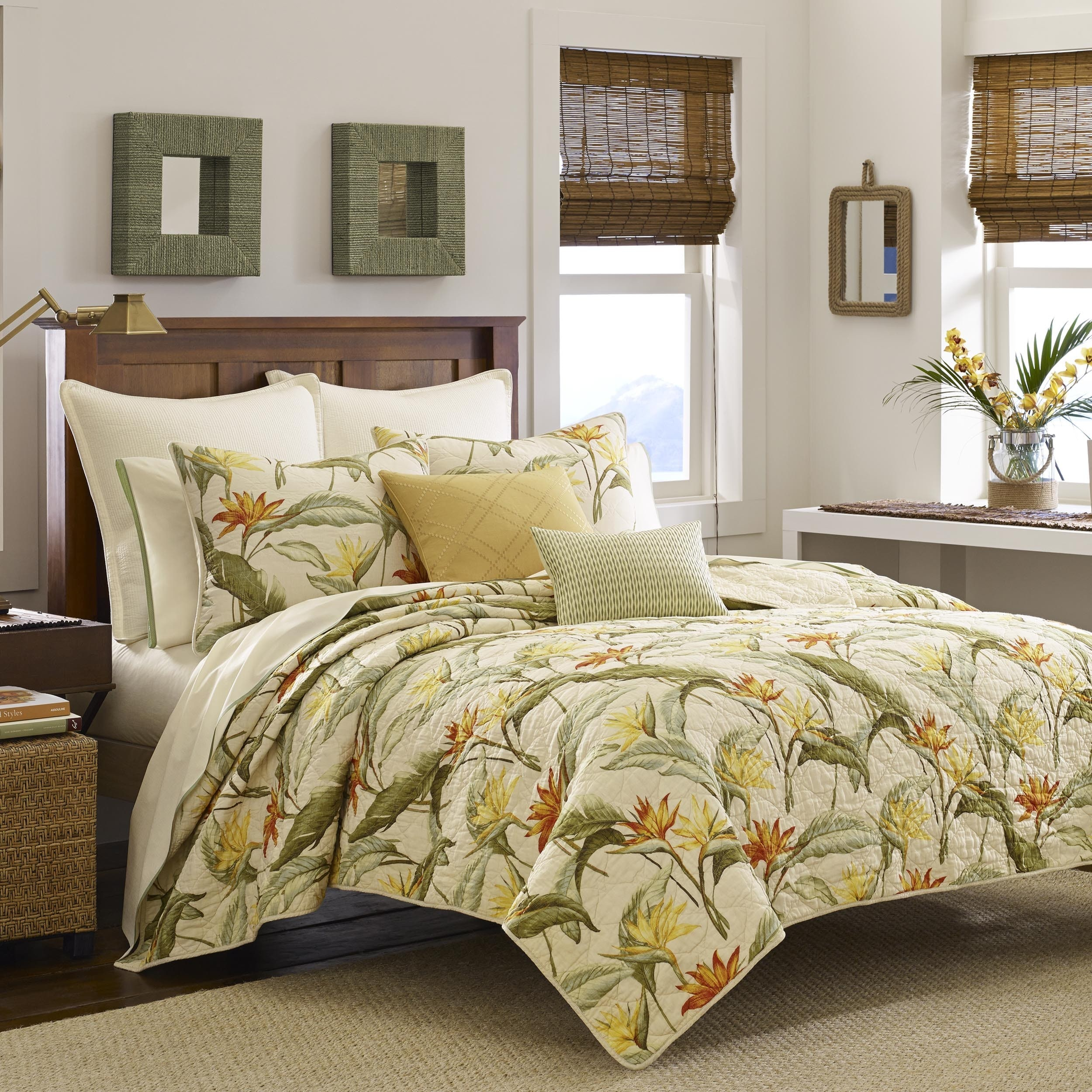 Tommy Bahama Birds of Paradise Quilt (Twin), Green (Cotto...