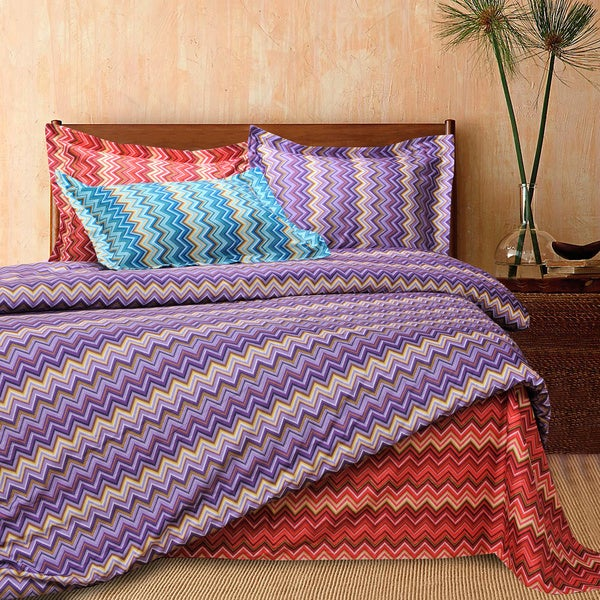 Superior Wrinkle Resistant Zig Zag Brush Microfiber Duvet Cover Set