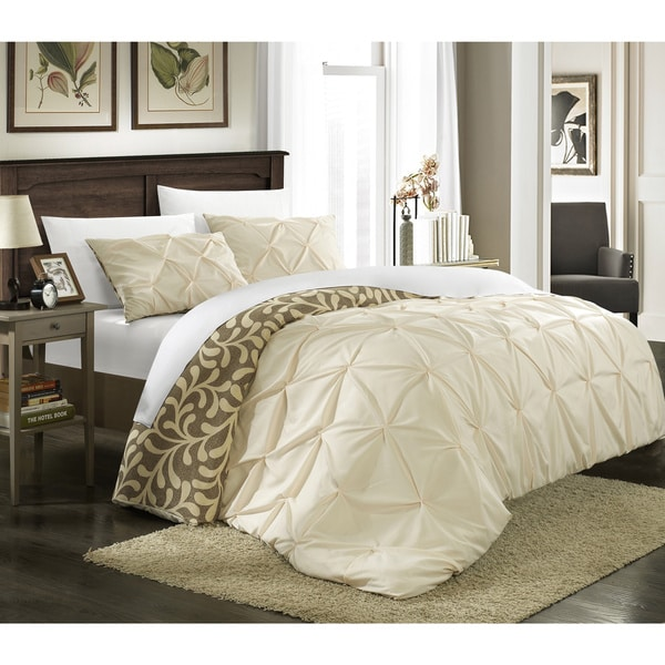 shop chic home talitha pleated reversible 3 piece duvet cover set on sale free shipping. Black Bedroom Furniture Sets. Home Design Ideas
