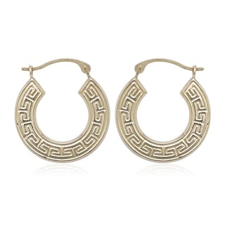 10k Yellow Gold Greek-Key Hoop Earrings