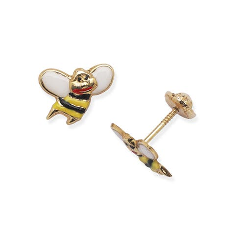 14k Yellow Gold Children's Enamel Screw-back Bee Earrings - White