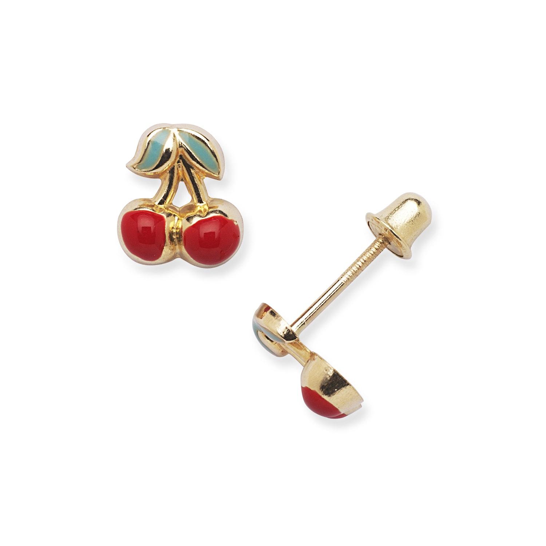 Childrens Stylish 14K Yellow Gold Red Enamel Cherry Earrings