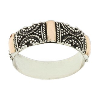 Handmade Gold Overlay 'Sands of Time' Sterling Silver Ring (Indonesia)
