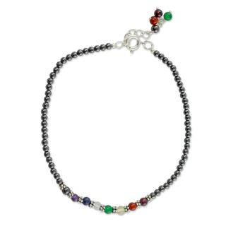 Sterling Silver 'Inner Balance' Multi-gemstone Anklet (India)