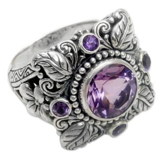 Sterling Silver 'Nature's Splendor' Amethyst Ring (Indonesia)