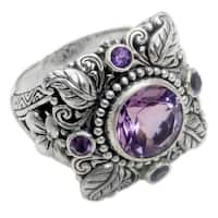 Handmade Sterling Silver 'Nature's Splendor' Amethyst Ring (Indonesia)