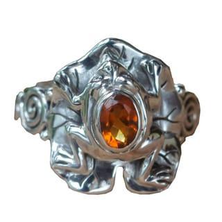 Handmade Sterling Silver 'Golden Rainforest Frog' Citrine Ring (Indonesia)